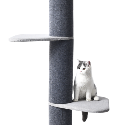 Luxury Three Tier Floor-to-Ceiling Cat Tree with 8 Inch Diameter Scratching Posts and Petal Platforms