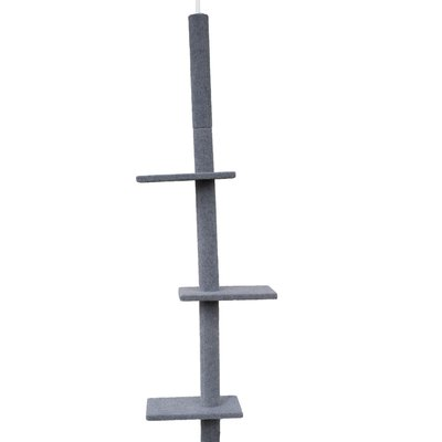 Three Tier Floor-to-Ceiling Cat Tree (Grey)