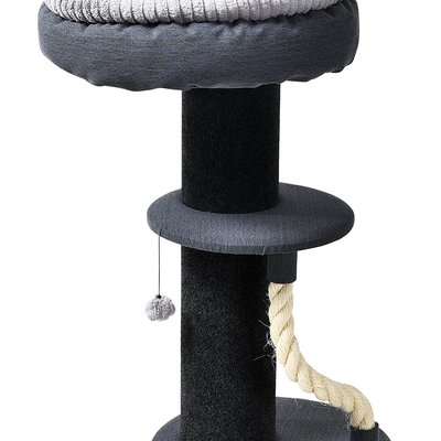 "Super-Soft Lounger Playset  - Grey Large 18"" Round Soft Side Bolster Bed With Round Pedestal With Rope and Round Base"