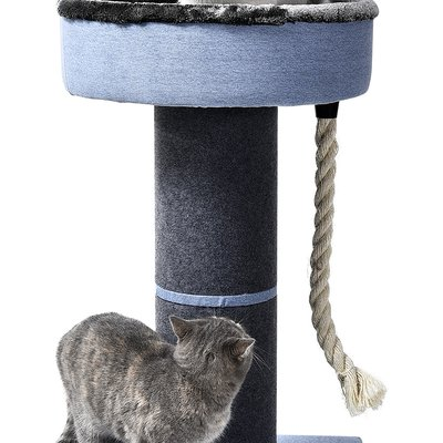"Luxury Cat Bed - Slate Blue - Large 18"" Round Hardside Pedestal Bed With Rope and Square Base"