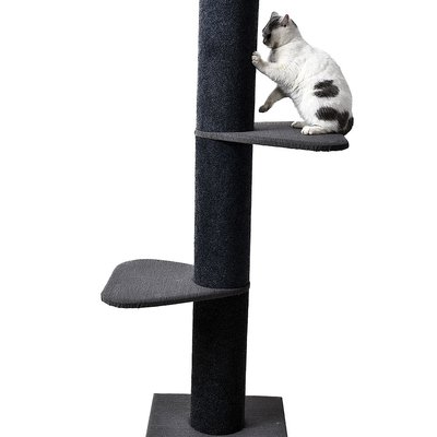 "63"" Tall Play Tree Climber w/Rectangle Platfroms (Charcoal Post / Light Grey Tweed Platforms) with 8"" Diameter Post"