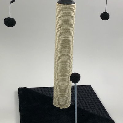"Clearance - $8.00 - Max and Marlow 20"" White Sisal Scratching Post with Double Spinning Topper"