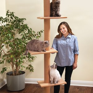 Three Tier Floor-to-Ceiling Cat Tree (Tan)