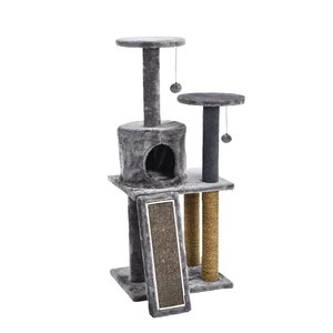 "45"" Cat Playset w/Cardboard Scratcher/Condo/Two Perch (Grey)"