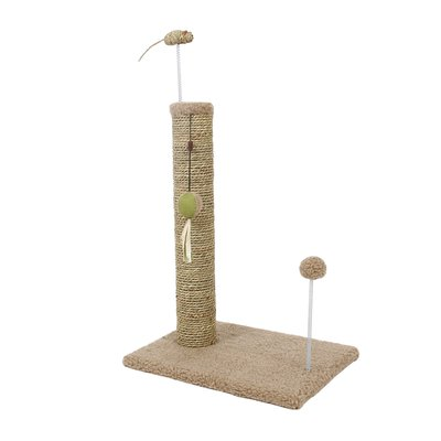 "20"" Sea Grass Scratching Post with Spring Toy on Tan Sherpa Base 1PK"