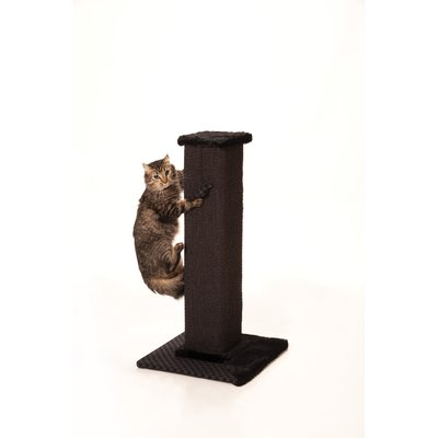 "32"" Max and Marlow Scratch Post Tower - Grey Sisal - Herringbone Fabric"
