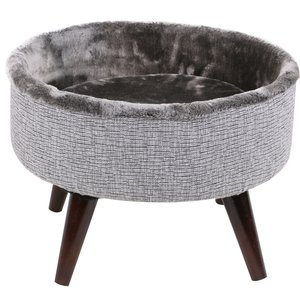 "16"" Round Bed Grey/Brown Wooden Legs Cat Furniture"